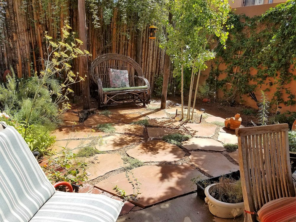 This #flagstone #patio will be covered in #creepingthyme soon. We constructed this #shadestructure for the #ladybanks #rose to climb on, built the patio and installed the irrigation and plants in the perimeter beds of this #courtyard style #garden. Excited to see this after another growing #season.  #southwesthorticulture #landscape #landscaping #native #natural #design