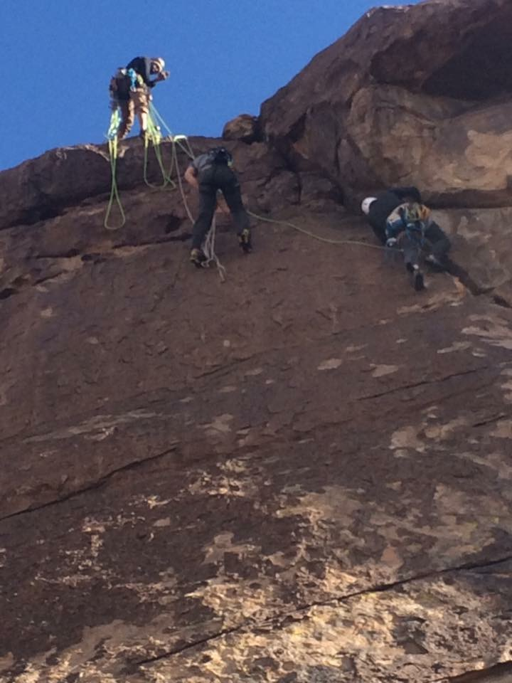 Myself back cleaning a route while Mario top belays me and Steve shoots on top rope.