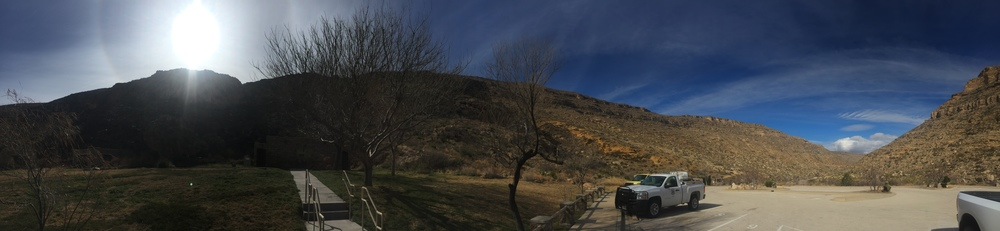 Panorama of Sitting Bull Falls from the parking lot.