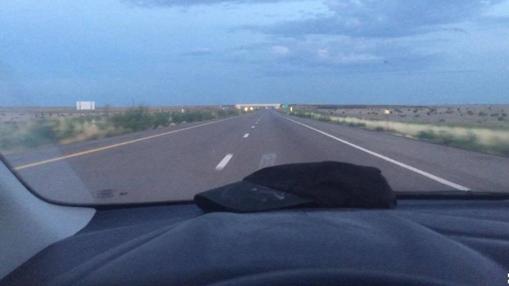Driving somewhere in New Mexico.
