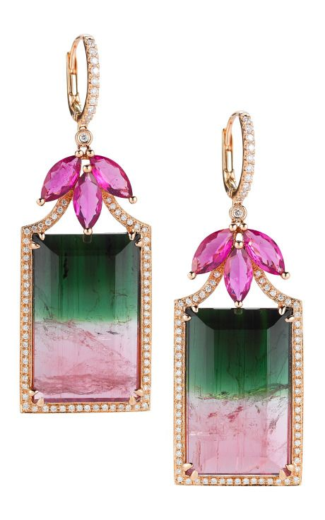 Watermelon Tourmaline, Rubellite, Gold And Diamond Earrings | PHOTO: MODA OPERANDI/DANA REBECCA