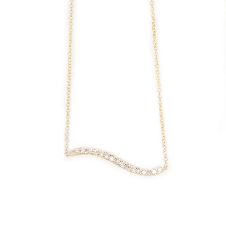 Diamond Wave Bar Pendant by Kate Alexandra
