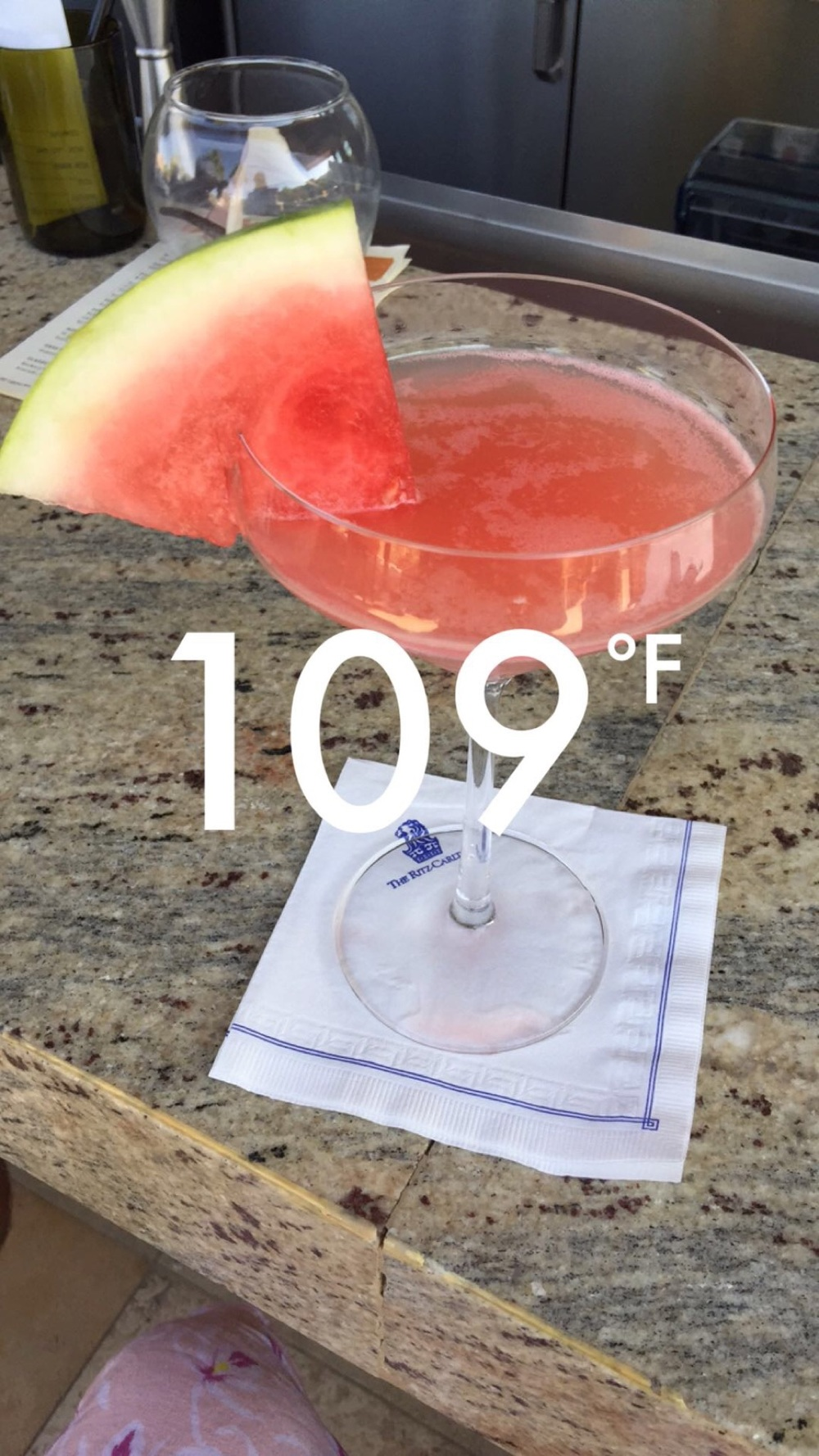 Twenty minutes later...109*, Watermelon specialty cocktail from State Fare bar