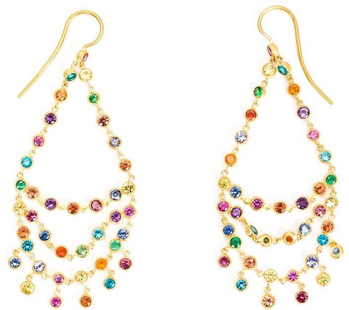 Marie Helen De Taillac, 18K Gold Rainbow Chandelier Earrings,Farfetch $5440