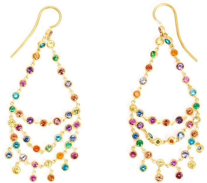 18kt gold 'Rainbow' chandelier earrings from Marie Helene De Taillac featuring a hook fastening and multicoloured precious stones. These earrings come as a pair.
