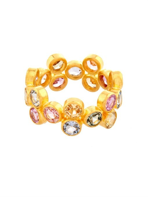 Marie-Hélène De Taillac's eclectic use of precious stones gives her exquisite jewellery a unique femininity. This 18kt yellow-gold ring showcases a cluster of 6.73ct multicoloured round-cut sapphires that bring a beautiful touch of sparkle and colour. Wear it as a signature everyday piece, accented with finer bands in gold.