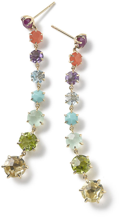 Ippolita earrings from the Rock Candy® Collection. 18-karat yellow gold. Summer rainbow colorway stones: composite ruby, orange carnelian, dark amethyst, blue topaz, turquoise, mint chrysoprase, peridot, and lemon citrine.