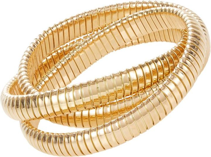 Sidney Garber 18k yellow gold three-band rolling bracelet, Barneys