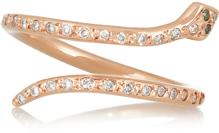Ileana Makri 18K Rose Gold Diamond Snake Ring, Net-A-Porter, $1,620