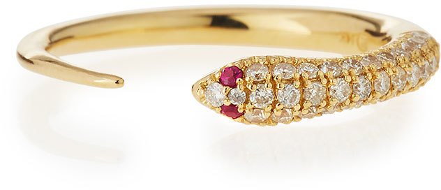 Sydney Evan 14K Pave Diamond Skinny Snake Ring, Neiman Marcus, $1,300