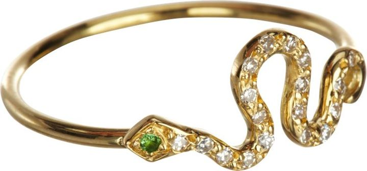 Ileana Makri 18K Gold Tsavorite and Diamond Mini Snake Ring, Barneys NY, $850