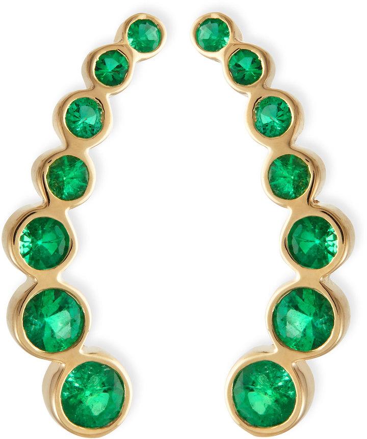 Rina Limor Ear Climbers 18K Gold & Bezel Set Emeralds, Neiman Marcus, $2,400
