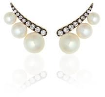 Prive White Pearl Ear Climbers, Editorialist, $2,940