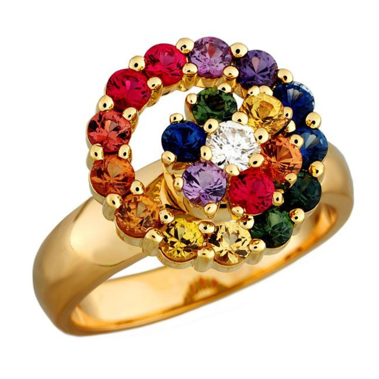 Teufel Rainbow Sapphire Cluster Ring, Dolphin Galleries, $4,565