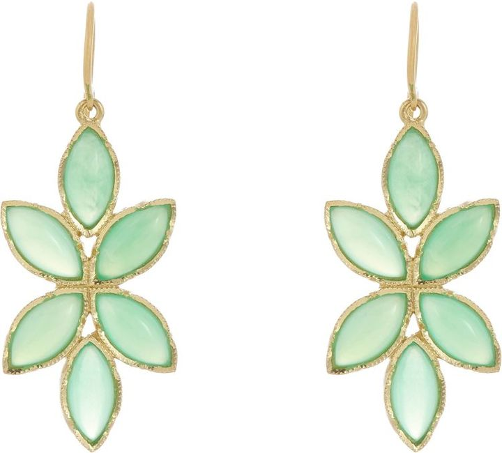 Irene Neuwirth Floral Drop Earrings, 18K Gold and marquise-shaped Chrysoprase cabochons, Barneys New York, $3,120