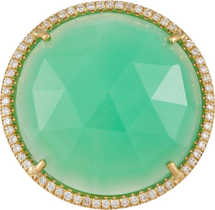 Irene Neuwirth's ring is crafted of 18k gold set with a rose-cut chrysoprase, Barneys New York, 7,105