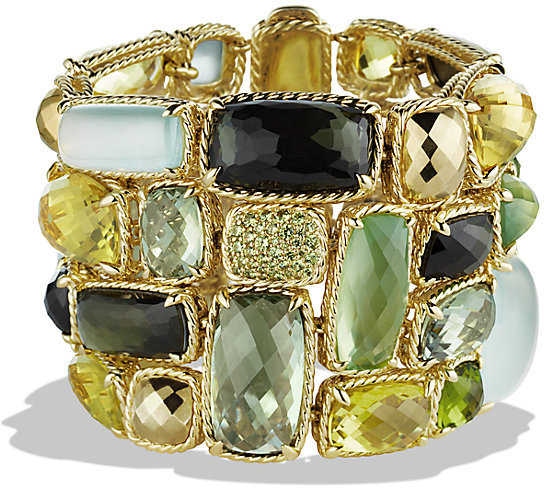David Yurman Bracelet, 18K Yellow Gold, Cabochon lemon citrine, faceted green tourmaline, pavé black demented garnets, $37,000 - $41,000