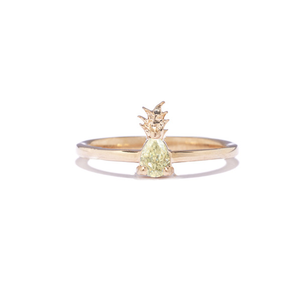 Tiffany Chou Pineapple Ring, 14K Gold &Yellow Pear-shaped Diamond,TiffanyChou.com