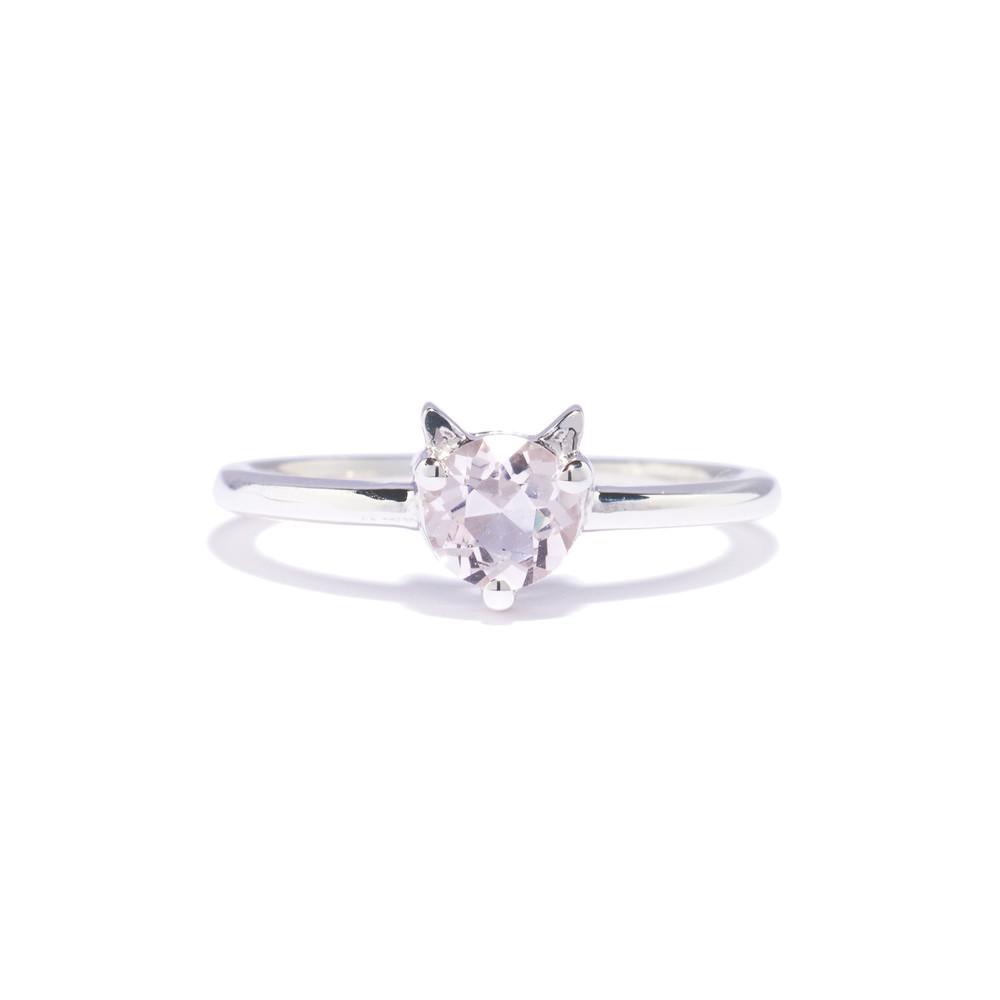 Tiffany Chou Sawyer Cat Ring,in Sterling Silver & Morganite, TiffanyChou.com