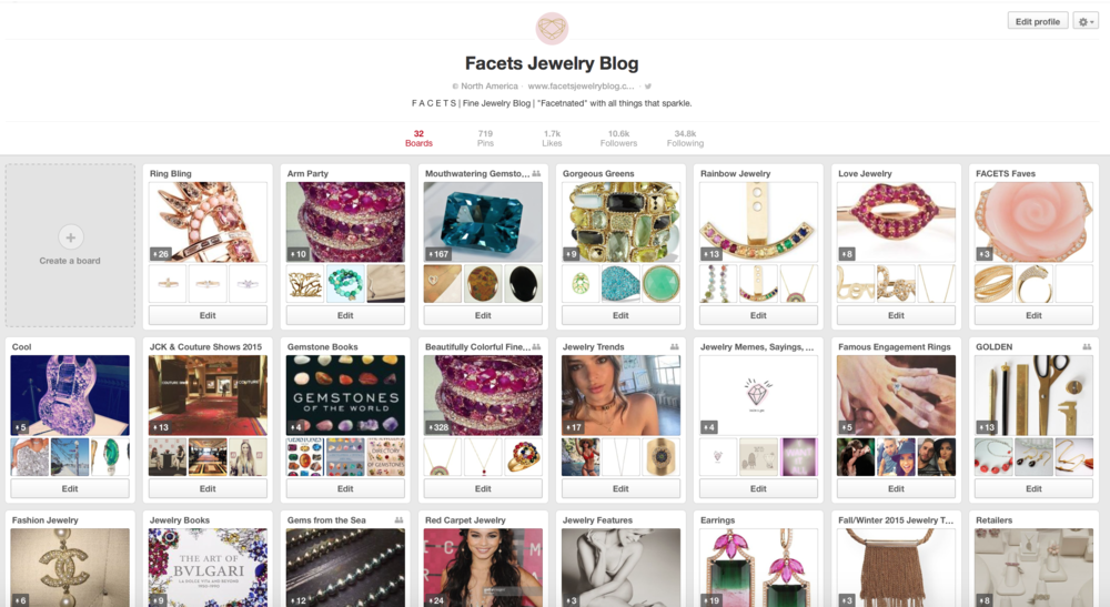 FACETS Jewelry Blog Pinterest Page
