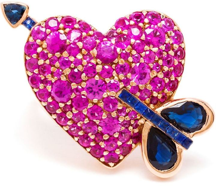 KDIA 18kt rose gold sapphire cupid's arrow heart ring featuring pink and blue sapphires, Farfetch, $16,518