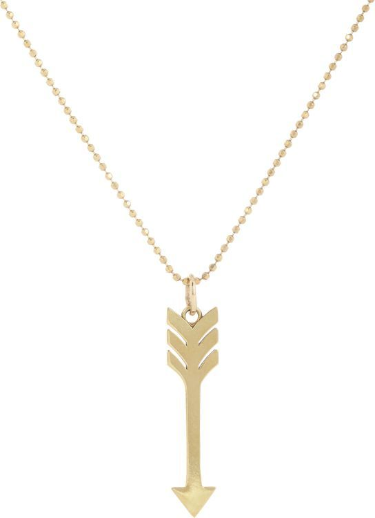 Jennifer Meyer Polished 18k gold arrow pendant hangs on a 14k gold faceted ball-bead chain. 18k gold, 14k gold, Barneys New York, $1,200