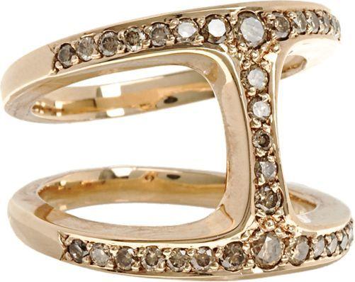 Hoorsenbuhs Dame Phantom Ring, 18K Rose Gold and Cognac Diamonds,Barneys NY $5,250