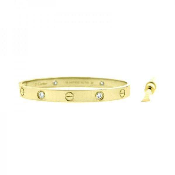 Cartier Love Bracelet 18K Yellow Gold Half Diamonds, TrueFacet $9,295
