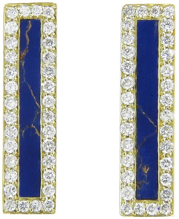 Jennifer Meyer Lapis Inlay Long Bar Studs - Yellow Gold, Ylang 23, $2,825