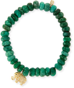 Sydney Evan 8MM Faceted Emerald Beaded Bracelet with 14K Gold Diamond Elephant Charm, Neiman Marcus, $860