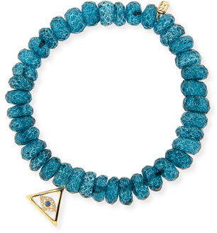Sydney Evan 8MM Faceted London Blue Quartz Beaded Bracelet with 14K Gold Pyramid Evil Eye Charm, Neiman Marcus $730