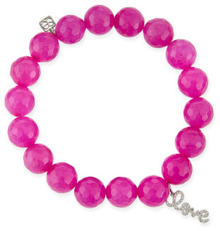 Sydney Evan 10MM Fuscia Agate Beaded Bracelet with Diamond Love Charm, Neiman Marcus, $705