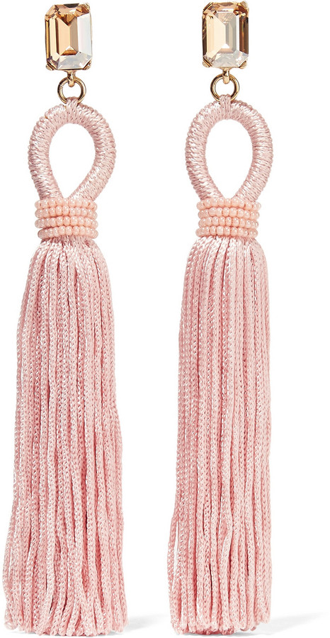Oscar De La Renta Silk Tassel and Swarovski Crystal Earrings, Net-A-Porter.com