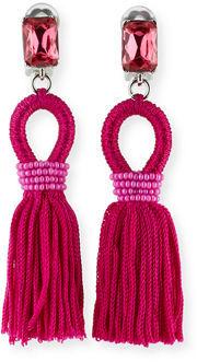 Oscar De La Renta Silk Tassel Drop Earrings, $390