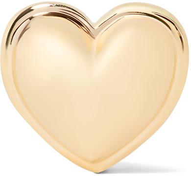 ALISON LOU - HEART 14-KARAT GOLD EARRING, $300