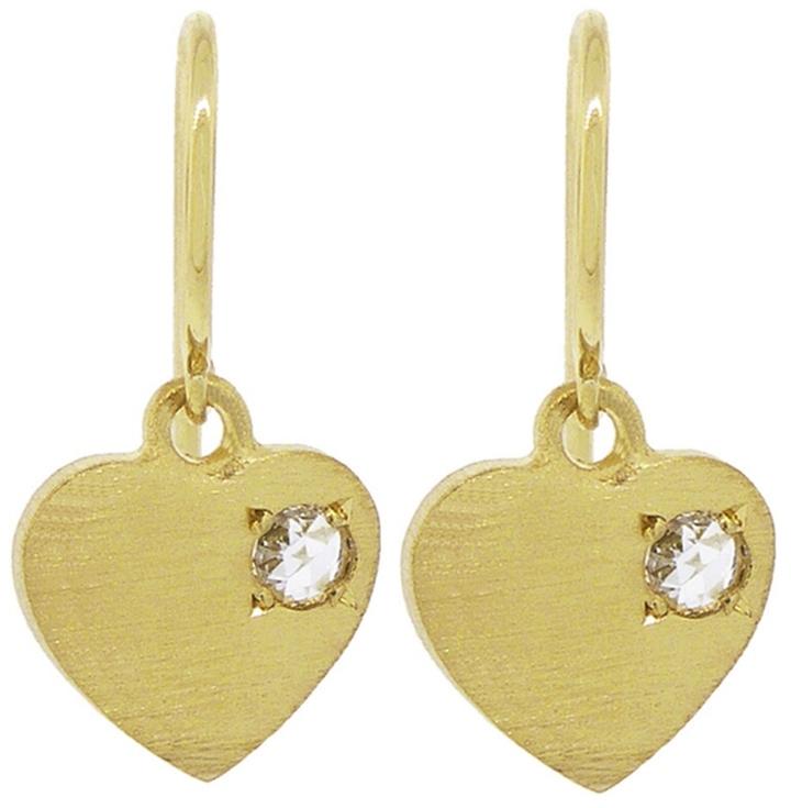 IRENE NEUWIRTH CHARITY CHARM HEART EARRINGS WITH ROSE CUT DIAMONDS, $1410