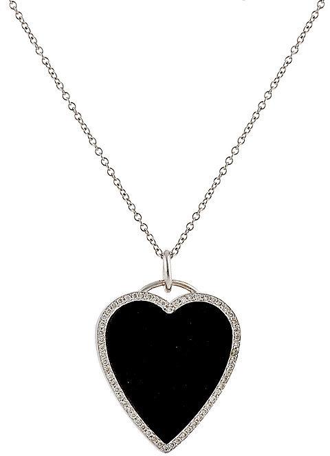 JENNIFER MEYER WOMEN'S WHITE DIAMOND & ONYX HEART PENDANT NECKLACE, $3750