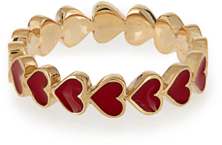 ALISON LOU ENAMEL & YELLOW-GOLD HEART RING, $1375
