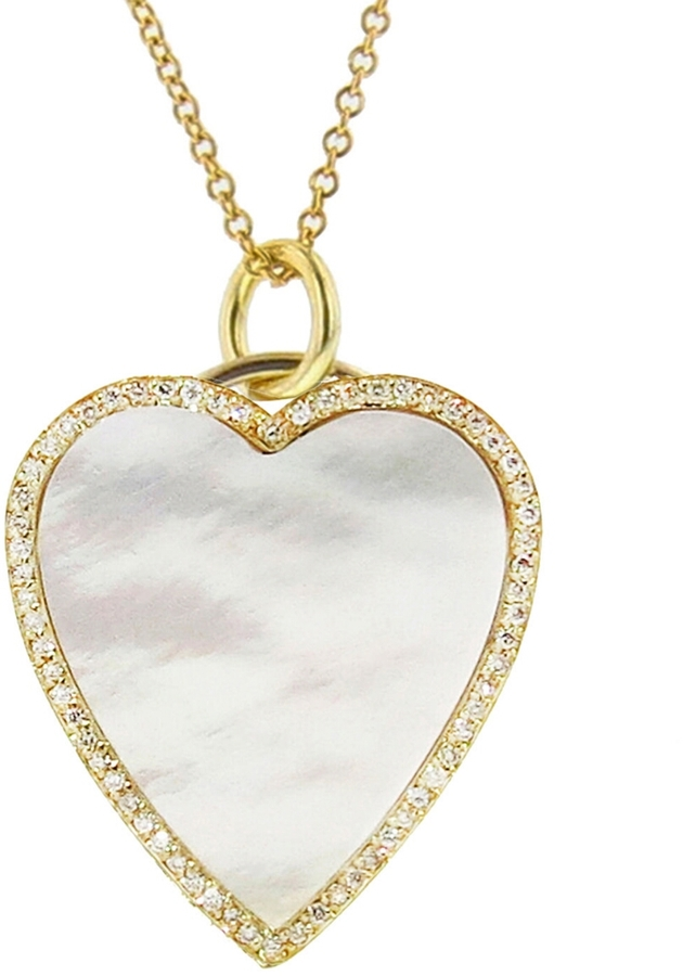 JENNIFER MEYER DIAMOND MOTHER OF PEARL HEART INLAY NECKLACE, $3750