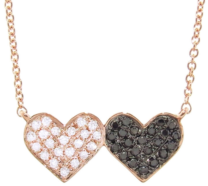 SYDNEY EVAN DOUBLE DIAMOND HEART NECKLACE, $945
