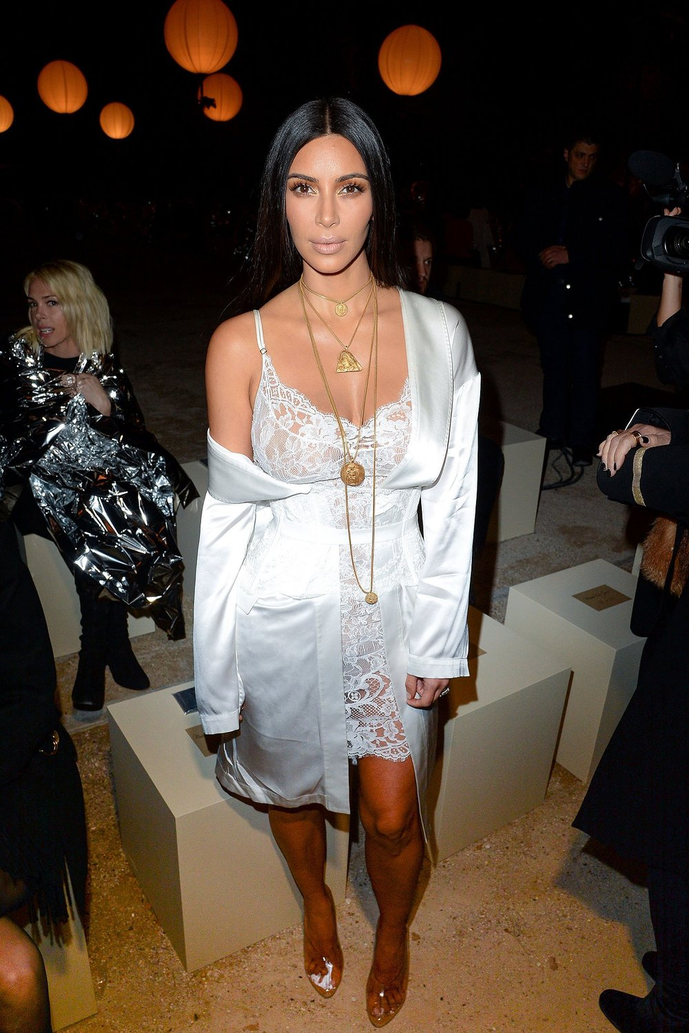 Kim K in layered Yeezy Gold Necklaces