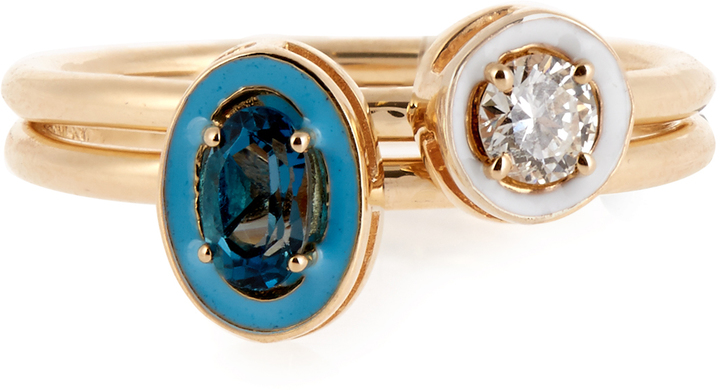 ALISON LOU DIAMOND, TOPAZ, ENAMEL & YELLOW-GOLD RINGS