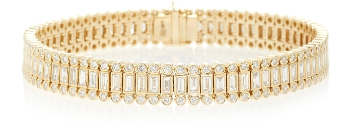 SYDNEY EVAN BAGUETTE AND ROUND BEZEL STACKED ETERNITY BRACELET