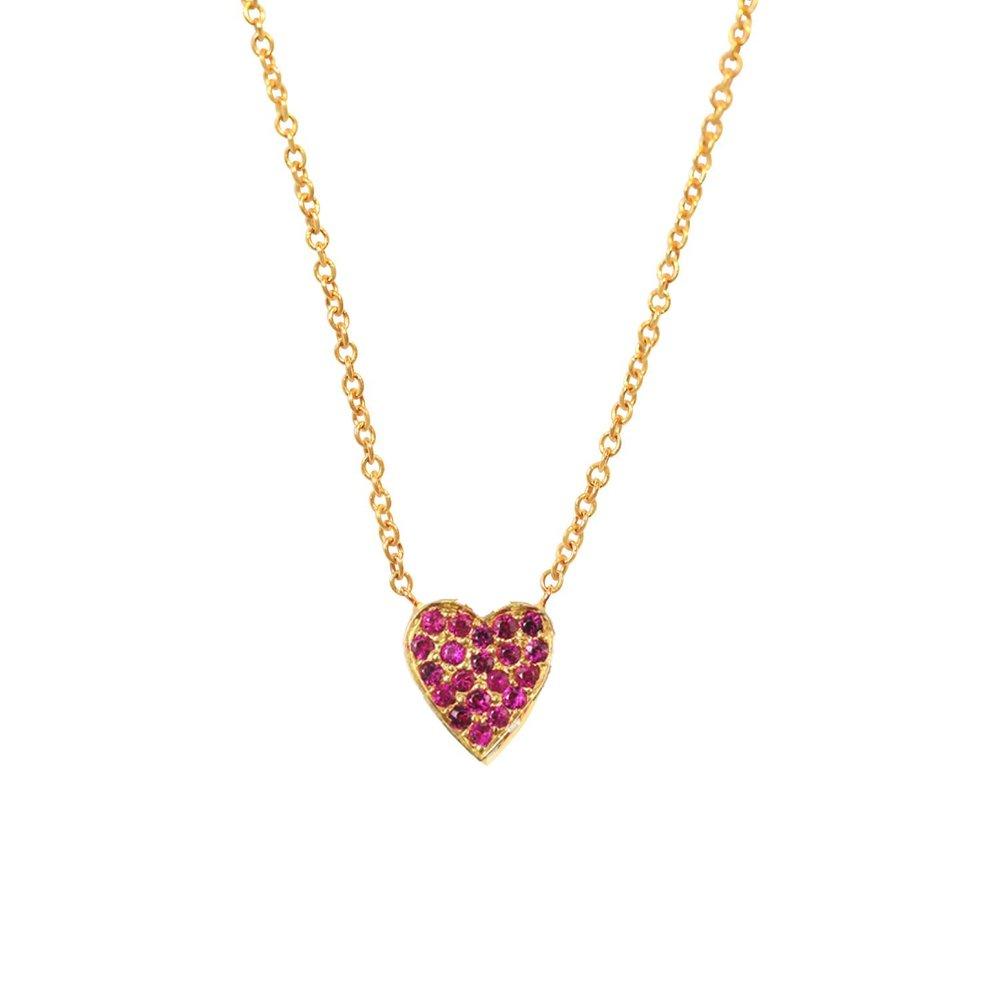 Mini Ruby Heart Necklace by Kate Alexandra Jewelry