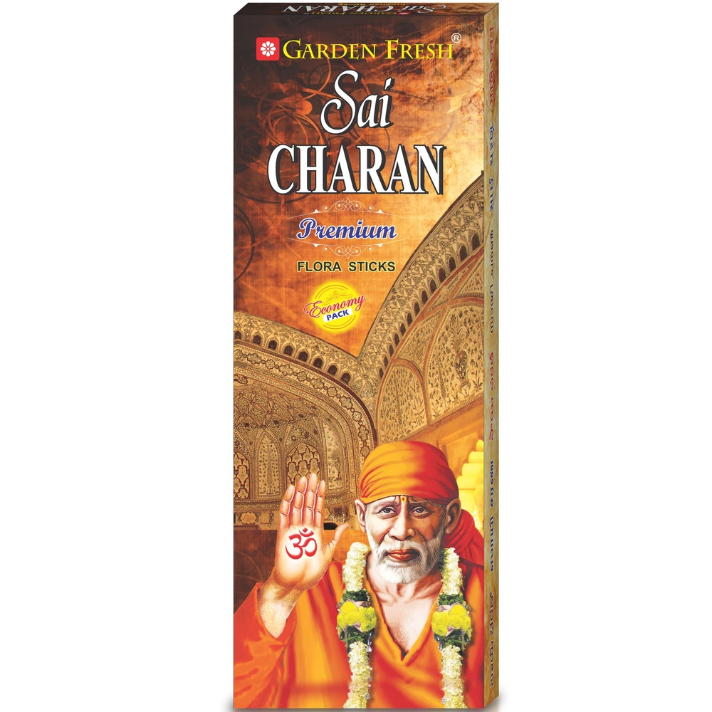 SAI CHARAN FLORA   A blend of high quality resins, gums, oils and perfumes have been used to make this spectacular flora incense.   Net contents: 80 grams