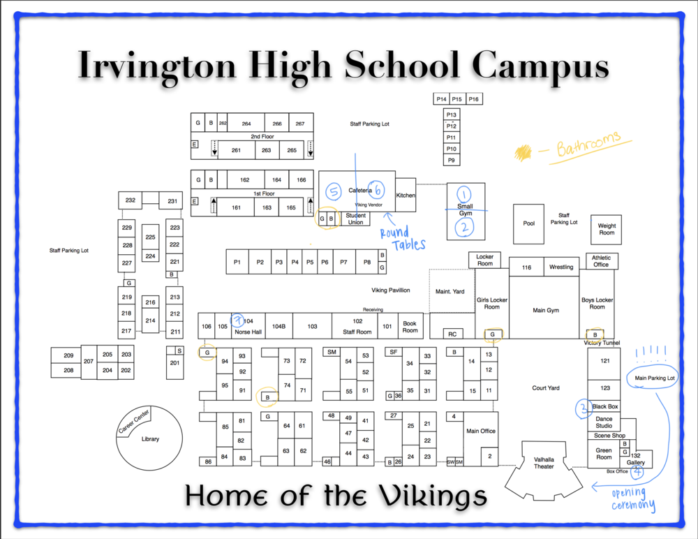 There will be an Irvington student leading you from workshop to workshop, but here is a labeled map of campus in case you ever need it.  As you can see, parking is in the main parking lot! Please don't go beyond towards the sports fields to park.