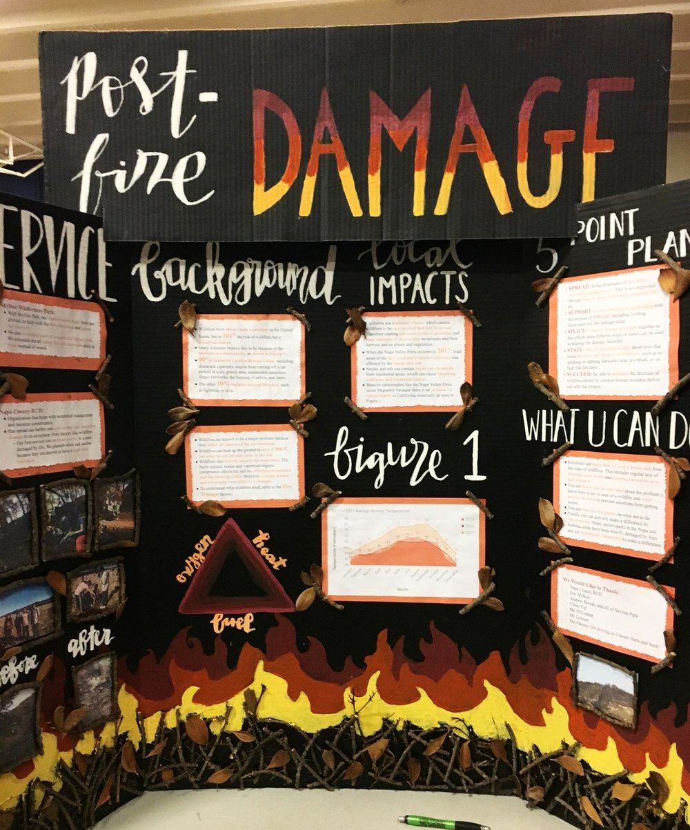 Post-Fire Damage - Enya M, Agatha S, Monica P, Kartik K.Problem: The Napa and Sonoma Fire has negatively affected the environment.Service Project: They cleared dead brush to help decomposition and speed up the recovery of the forest.