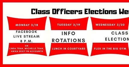 next week is the last week for class officer elections! be sure to watch the Facebook live stream at 8PM next week to learn more about each candidate