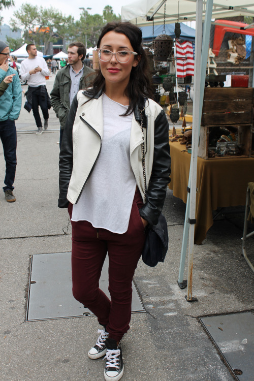 One of our favorite looks of the day came from this casual yet perfectly put together ensemble. With her multi-colored glasses, skinny joggers, high top converse, and great leather moto jacket she easily had one of the coolest looks on Melrose.  –  Melrose Trading Post  Los Angeles, Ca  Neighborhood: Melrose