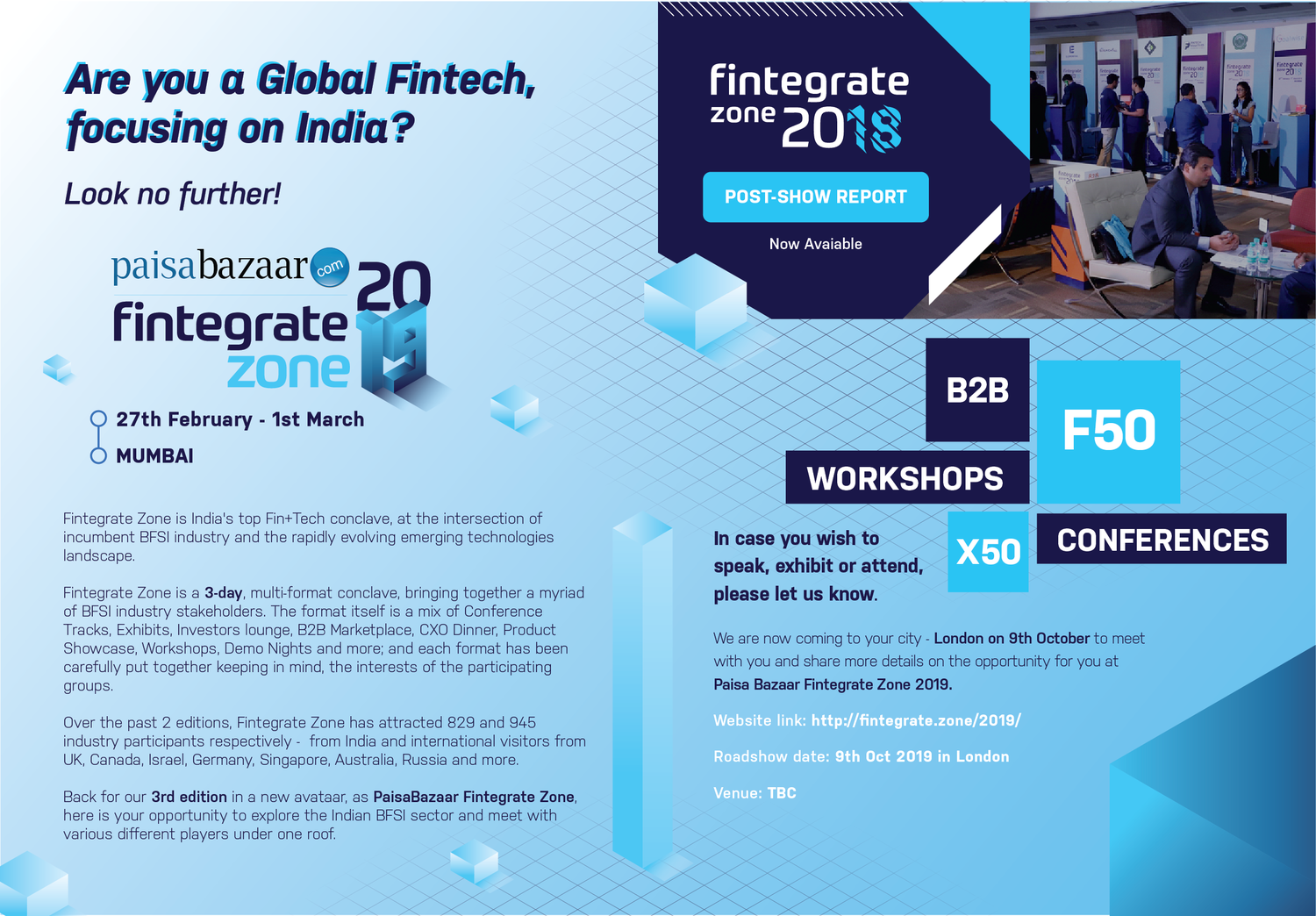 The FinTech 50 | Fintech events in London, Europe, the US and Asia